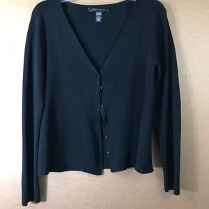 Cable & Gauge Black Long Sleeve Ribbed Cardigan